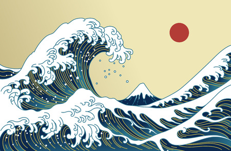 Big Asian ocean wave, red sun and the mountain illustration. Golden color tones. Ocean of Kanagawa.