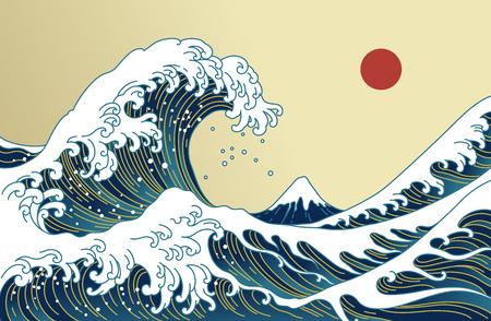 Große asiatische Ozeanwelle, rote Sonne und die Bergillustration. Goldene Farbtöne. Ozean von Kanagawa. Vektorgrafik