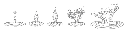 Water droplet single line stroke. Asian style isolated on white background. Water splashing. Illustration