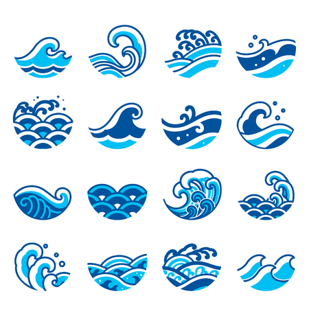 Set of ocean wave icon vector. Modern and traditional sea wave style for logo, surf sports, tattoo.