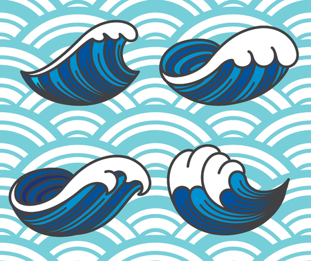 Ocean wave icon single line stroke isolated on light blue wave seamless background. Illustration