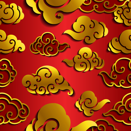 An oriental traditional cloud wave islolated on gradient red seamless wallpaper. Chinese wedding background conceptual.