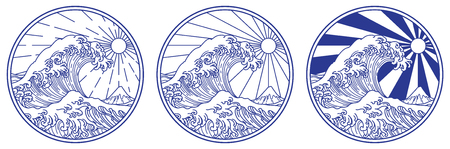 Big ocean wave line vector illustration. Design in circle shape with blue line for tattoo or glass etching or any decoration. Illustration