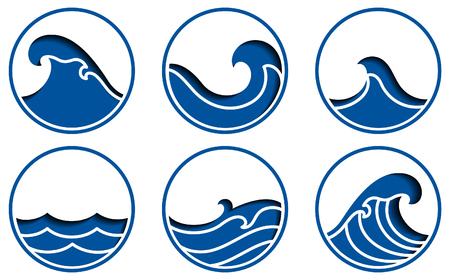 Ocean wave icons vector.Blue sea line paper cut sign. Illustration