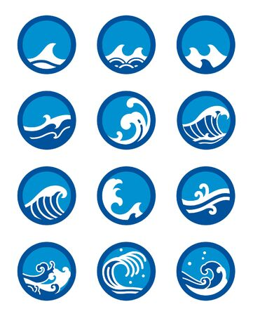 Ocean wave icon set. Modern and traditional sea wave, surf sports, tattoo.