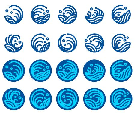 Set of water wave logo design vector. Modern and traditional sea wave style. Single line style.