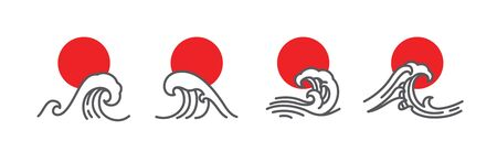 Japan wave and red sun vector illustration set. Linear art of great wave. Minimal style for use icons or t-shirt design.