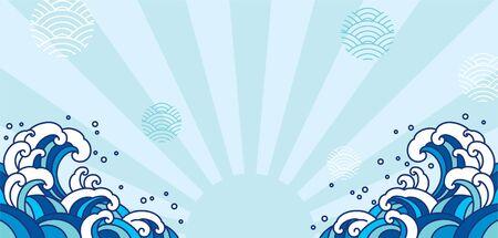 Blue orient wave illustration. Japan wave isolated on light blue shine and wave bubble. Illustration