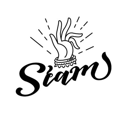 Siam lettering design logo vector with traditional applied thai art hand illustration.