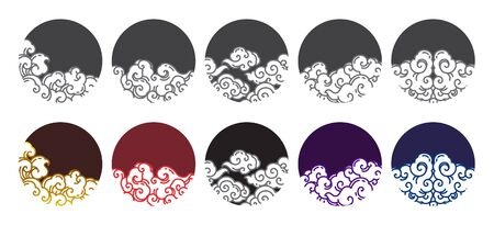 Chinese cloud line design vector illustration set. Traditional orient cloud design in round shape