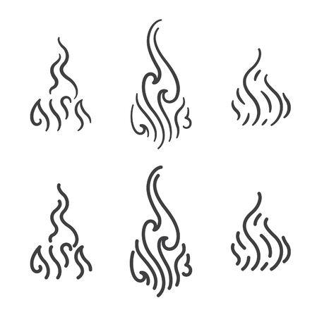 Aroma line art icon vector set. Smoke steam line art collection.