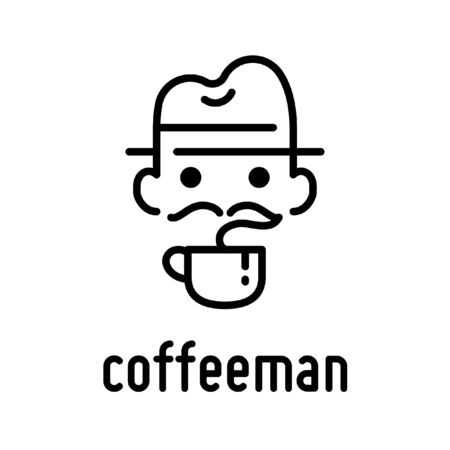 A moustache man with a hat coffee logo design template. Creativity idea.Coffee logo. Vector.