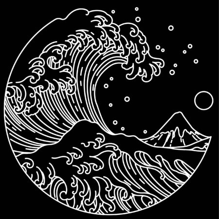 Japanese great wave line art in round shape illustration. Isolated on black background. Editable stroke.Ocean of Kanagawa.