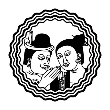 A couple of man and woman vector illustration. Thai traditional northern styles.
