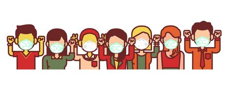 People wearing medical mask. Hands up and victory gesture to fight concept. Coronavirus Covid-19. 矢量图像