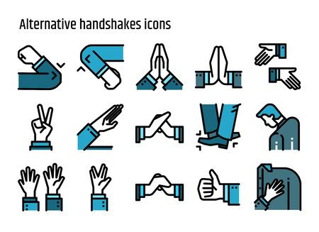 Alternative handshake color line icons vector set. Creative greeting avoid Coronavirus 2019-nCov, Covid-19. Illustration