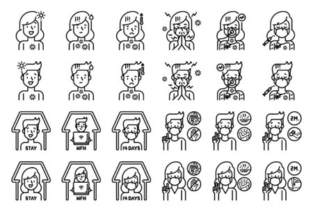 Man and woman with symptoms of Covid-19 and health care line icon set.