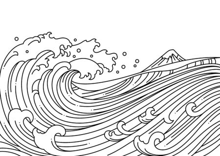 Great oriental water ocean vector illustration.Japan wave.Single line.