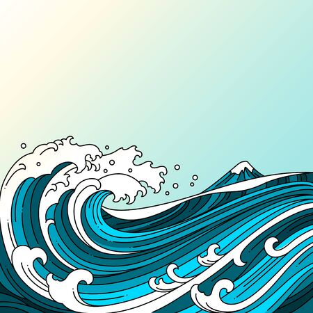 Great oriental water ocean vector illustration.Japan wave.Colored line.