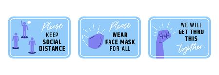 Signage keep social distancing stop covid-19. Wear face mask for all, encourage phrases get through this together.