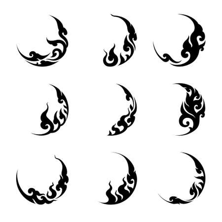 Abstract Thai art silhouette in circle shape. For logo element and ornament design vector set. 向量圖像