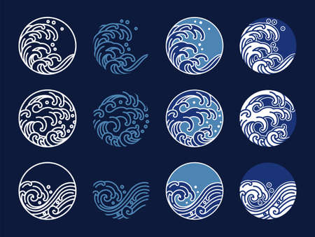 Water and ocean wave line art logo vector illustration. Oriental style graphic design. Ilustração