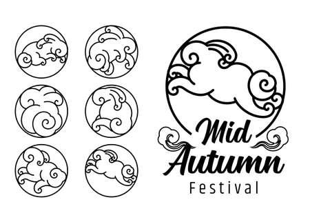 Mid autumn festival design template. Rabbit cloud shape line art symbol.