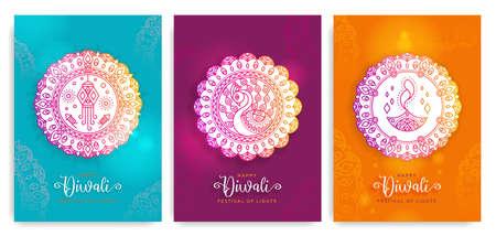 Happy Diwali,Deepavali festival of lights. Vectores