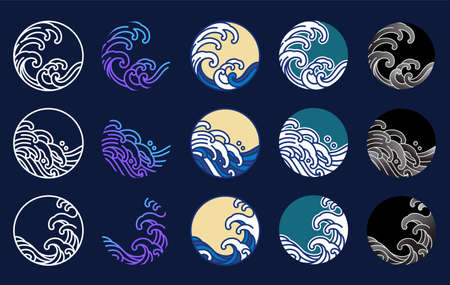 Japan water and ocean wave vector set. Oriental style graphic design. Line art, fill color line and gradient stylized in round shape.