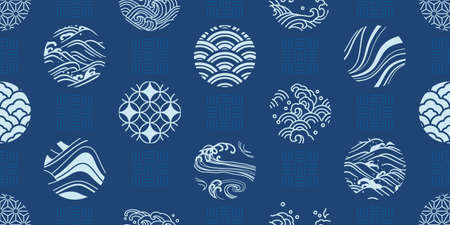 Japanese textiles seamless pattern vector. Design for fabric print, cover book, background, decoration. Vectores