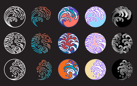Japanese water wave vector set. Line art, fill color, gradient, pastel and various style.