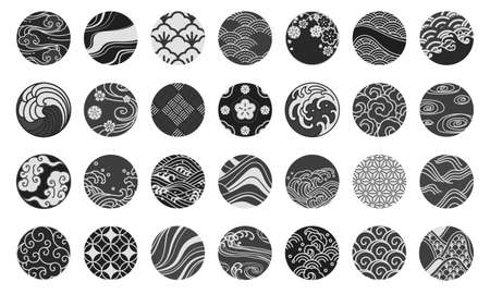 Japanese emblem and symbol round shape vector illustration.Water sea ocean wave, chinese cloud and wind,sakura,textiles,porcelain,traditional vintage style.