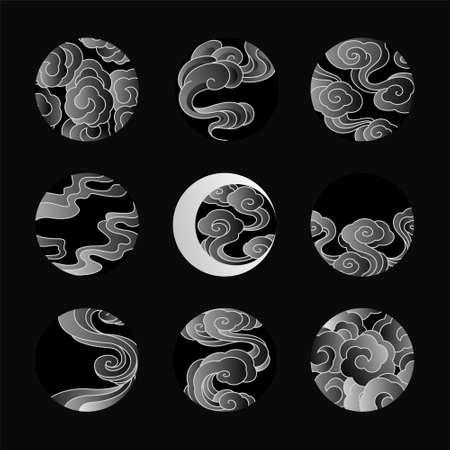 Abstract cloud vector line art illustration in circle,round,lunar and eclipse shape. Gradient style as tattoo,logo,decorative.
