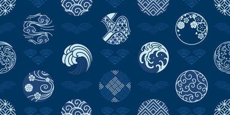 Japanese seamless pattern and wallpaper vector. Water wave, wind,cloud,porcelain,textiles,sakura,geometric vintage style. Vectores
