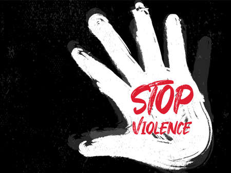 Stop violence grunge vector. Hand sign with hand draw paint brush. Vectores