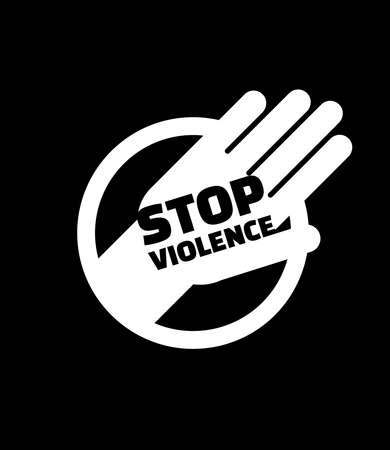 Stop violent sign with white hand gesture symbol. Minimal and modern silhouette style.