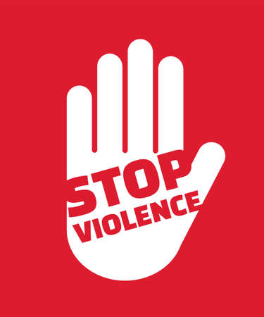 Stop violence hand gesture sign. Modern and minimal style.