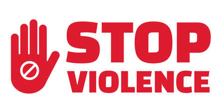 Stop violence text and hand prohibit sign gesture vector.