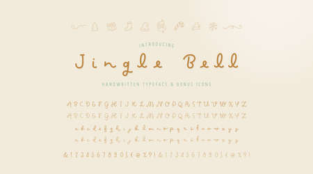 Hand written typography typeface script font and uppercase, lowercase,numeric alphabets. Regular and light weights and bonus christmas icons.