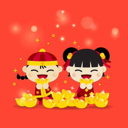 Chinese Asian kids boy and girl smiling hold the gold to celebrate the traditional China festival behind many lot of gold and bokeh light. Happy Chinese New Year.