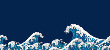 Japan wave oriental design seamless background. Vector illustration isolated on blue background. Vectores