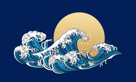 Japan wave ocean vector illustration. Asia and oriental traditional line art design.
