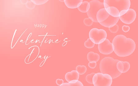 Happy Valentine's day banner with heart shape white bubble transparent.