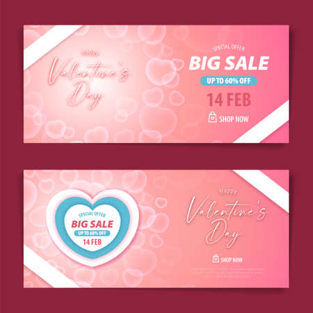 Valentine big sale gift voucher and coupon design template with transparent bubble heart background