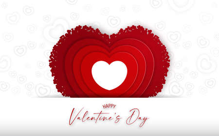 Valnetine's card  with red heart shape backdrop on white background. Vectores