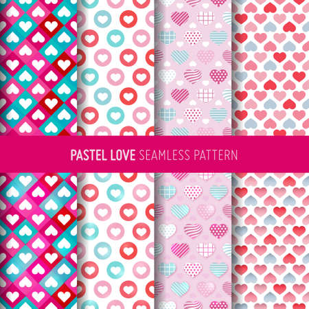 Love symbol seamless pattern. Valentine's day gift wrap paper and  pastel background. Vectores