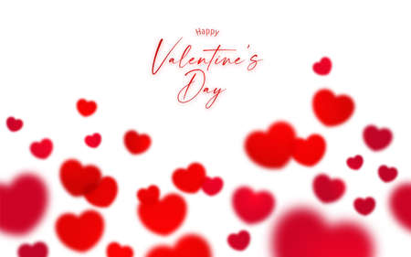 Happy Valentine's day seamless background with blur red  heart shape symbol and copy space isolated on white background Vectores