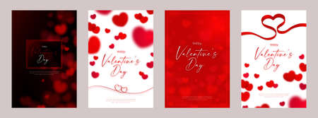 Happy Valentine's day card template design with red heart symbol concept. Vectores