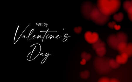 Valentine's card black and dark night background with red bokeh heart shape Vectores