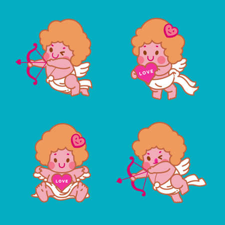 Cupid character collection vector illustration.